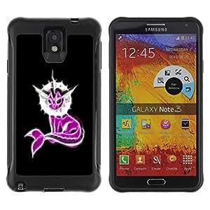 LASTONE PHONE CASE / Suave Silicona Caso Carcasa de Caucho Funda para Samsung Note 3 / Neon Pink Fantasy Narwhal