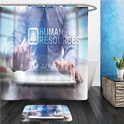 Beshowereb Bath Suit: ShowerCurtian & Doormat businessman using modern tablet pc and pressing human resources icon on virtual screen 401946907 Damask Resource Pattern