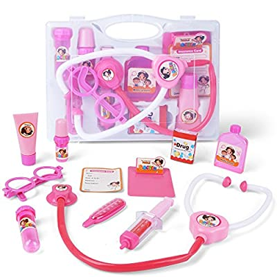 AMOSTING Doctor Kit Pretend and Play Medical Toys Set with Carry Case for Kids and girls – 10pcs Pink
