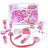 AMOSTING - Juego de juguetes médicos de 10 piezas Pink Doctor Pretend and Play con estuche para niños y niñas