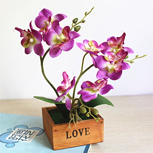 Telisii Spring Butterfly Orchids Phalaenopsis Innovative Bonsai Artificial Silk Flowers Bouquet Fashionable Home Decor Ornaments Simulated Potted Plants for Wedding Home Garden