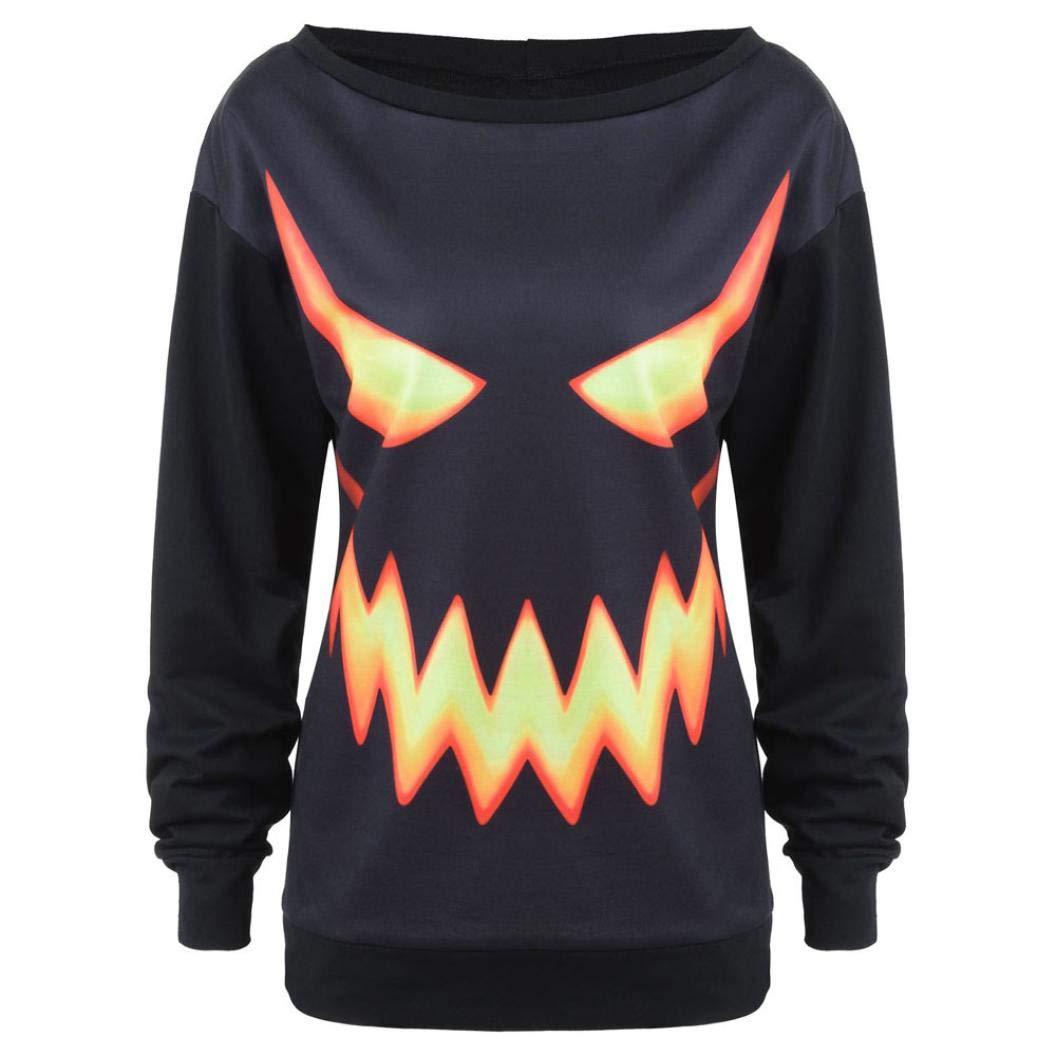 iYmitz DamenLange ÄrmelHooded Halloween Kordelzug Bedruckt Hoodie Sweatshirt Tops iYmitz Damen 816