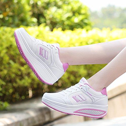 Orlancy Femmes Mode En Cuir Plateforme À Lacets Espadrilles Chaussures De Marche Fitness Sport Chaussures Blanc 8