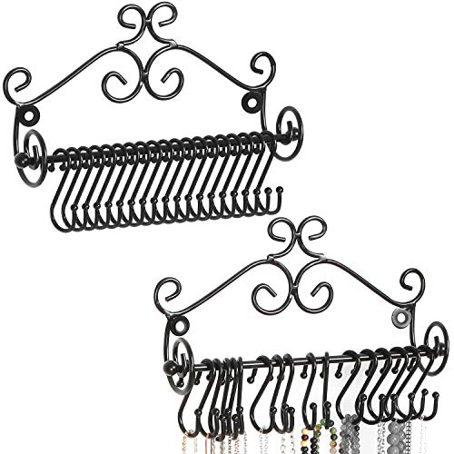 MyGift Wall Mounted Black Metal Scrollwork Design Jewelry Necklace Storage Organizer Rack with 20 Hanging S-Hooks, Set of 2