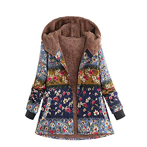 JOFOW Womens Long Coats Jackets Hooded Floral Print Color Block Patchwork Fleece Lined Loose Warm Padded Parka Plus Size