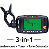 3-in-1 Guitar Tuner - Professional Clip-On Tuner, Metronome, and Tone Generator - Works with Guitar, Bass, Violin, and More.