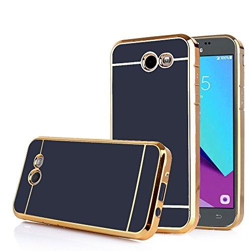 TabPow Galaxy J3 Emerge Case, Electroplate Slim Glossy Finish, Drop Protection, Shiny Luxury Case for Samsung Galaxy J3 Prime/Galaxy J3 Emerge/Amp Prime 2 - Black Gold