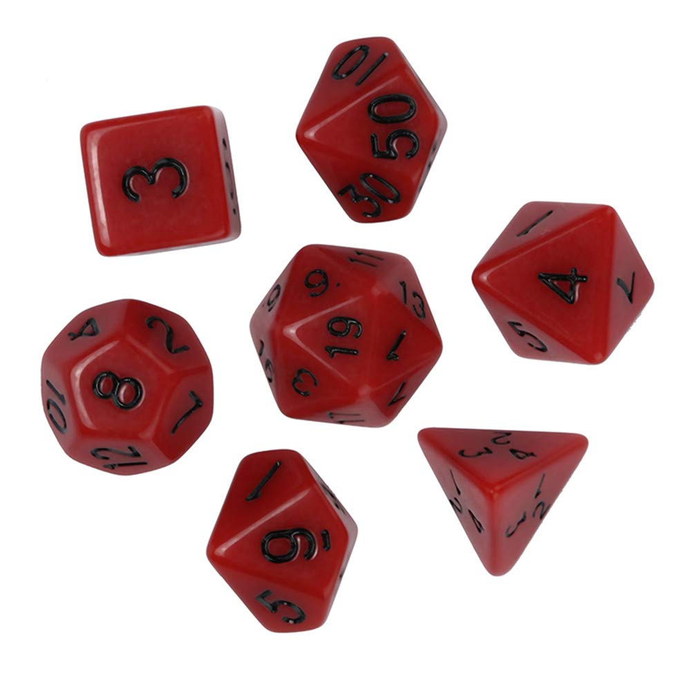 Dungeons and Dragons D&D Dice Set Red Polyhedral D4-D20 Game Dice for Role Playing Game TRPG Game 7PCSPlaying Game 7pcs (Red) by Codiak-Room (Image #1)