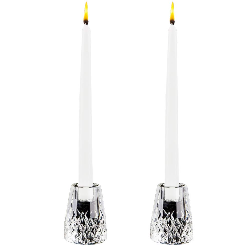 DONOUCLS Crystal Tealight Candle Holder Pack of 2 for Home Party Dinner Suitable for Long Pole or Threaded Candles Hand-Cut 2.5x3.5in