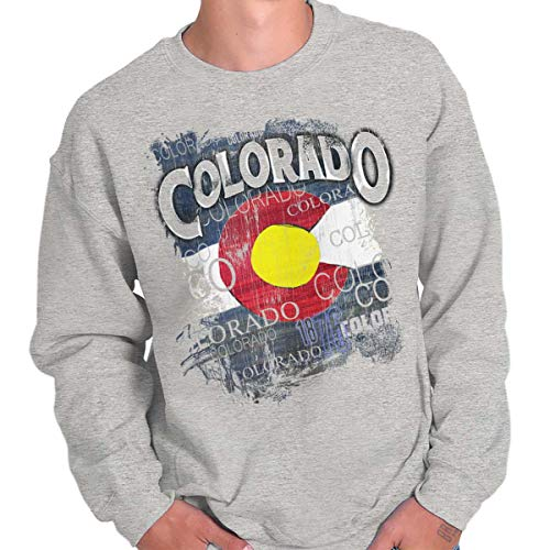 Colorado Crew Sweatshirt - CO State Flag Colorado Souvenir State Pride Crewneck Sweatshirt Sport Grey