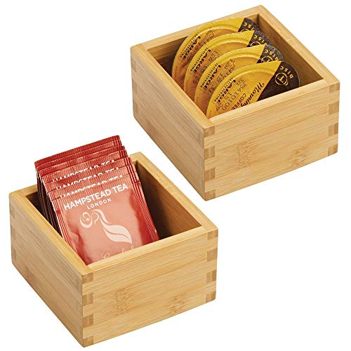 mDesign Bamboo Kitchen Cabinet Drawer Organizer Tray Bin - Eco-Friendly, Multipurpose - Use in Drawers, on Countertops, Shelves or in Pantry - 4 Square - 2 Pack - Natural Wood Finish