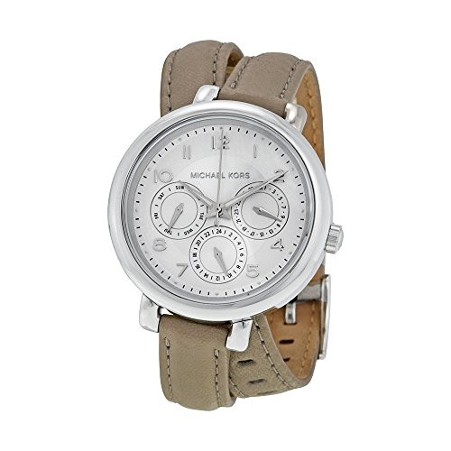 Michael Kors Gray Dial SS Tan Leather Multi Quartz Ladies Watch MK2403