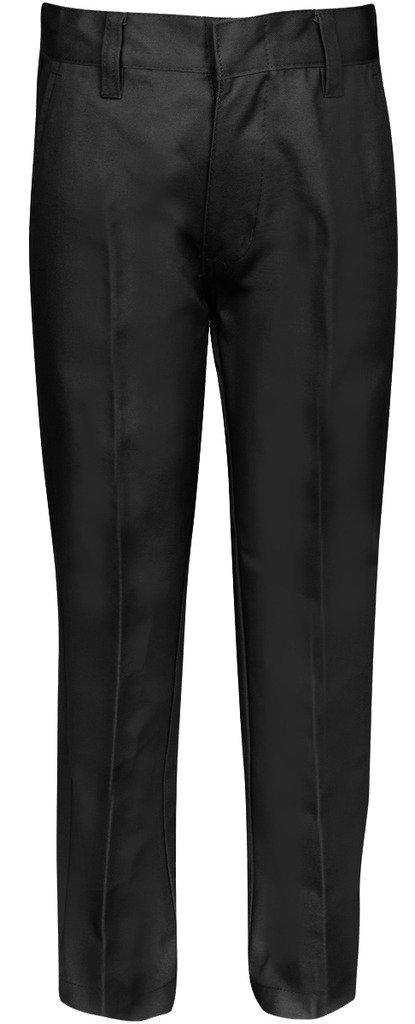 Premium Flat Front Pants for Boys with Adjustable Waist 12 Husky Black