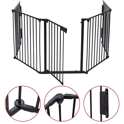 JAXSUNNY 5-Panel Metal Baby Safety Gate Child Toddler Fireplace Fence Hearth Screen Gate Black