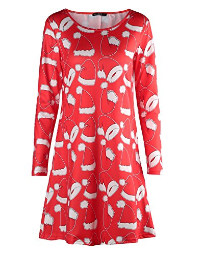 OUGES Women's Long Sleeve Christmas Print Xmas Gifts Casual Dress(Red Xmas Hat-065,XL)