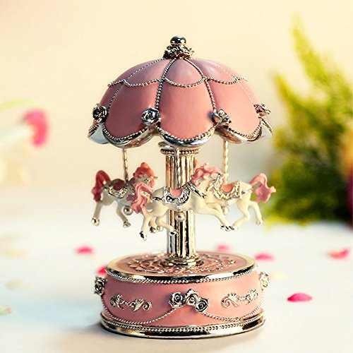 AVESON Luxury Carousel Music Box, Clockwork Mechanism 3-horse Gift For Birthday/Valentine's day, Melody Castle in the Sky, Pink