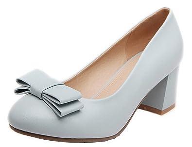 AgooLar Damen Mittler Absatz Rein Ziehen auf PU Rund Zehe Pumps Schuhe, Schwarz, 33