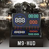 Head Up Display OBD2,Techstick 5.5 inch M9 Car HUD Heads Up Display with Reflective Board, Display KM/h MPH,Speeding Warning,Fuel Consumption,Temperature,Driven Mileage,5.5 LED Speed Projector