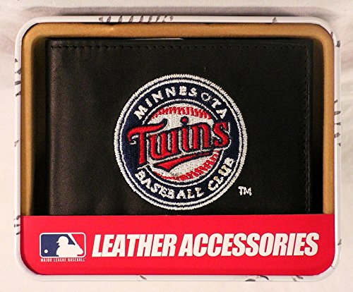 (MLB Minnesota Twins Embroidered Genuine Cowhide Leather Billfold Wallet)