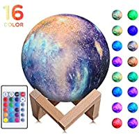 Night Light for Kids Moon Lamp 16 Colors LED 5.9 Inch 3D Print Star Moon Light with Stand, Touch & Remote Control & USB Rechargeable Baby Light Perfect Birthday Lover Friends (Star Moon Lamp)