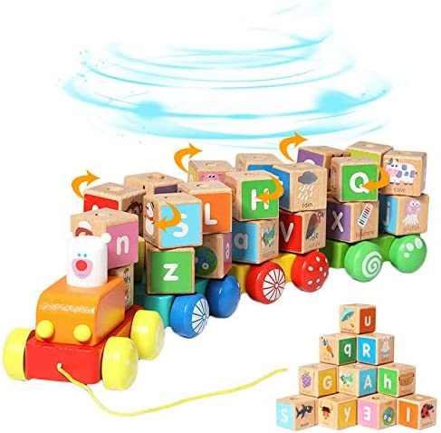 Arkmiido Wooden Building BlocksPull Along Wooden Train Toys26 PCS Alphabet Letters Block Set Montessori Educational Toys for 3 Years Old