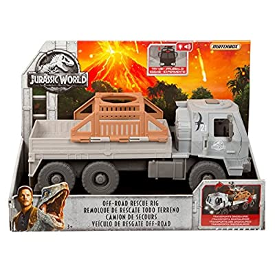 Matchbox Jurassic World Vehicle Off-Road Rescue Rig, Lights & Sounds: Toys & Games