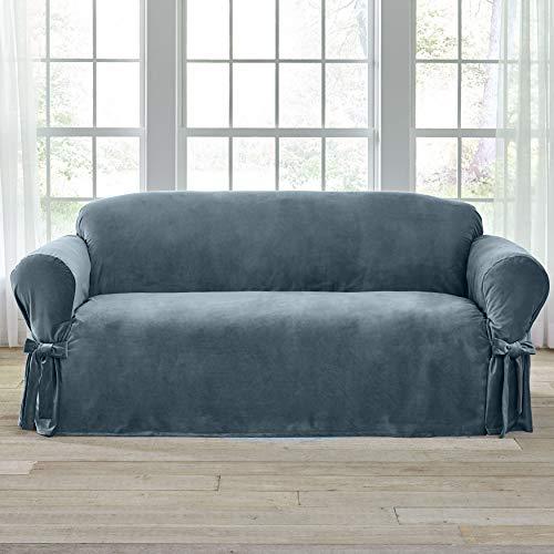 BrylaneHome Velvet Sofa Slipcover - Blue Haze