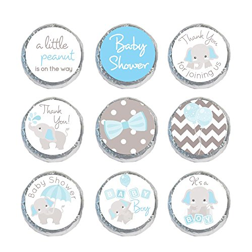 Mini Candy Stickers Gray Elephants Set of 324 (Light Blue) -