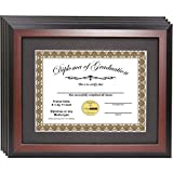 CreativePF [11x14mh-b] Mahogany Diploma Frames with 11x14-inch Black Mat to Hold 8.5 by 11-inch Graduation Documents w/ Stand and Wall Hanger (4-pack)