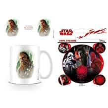Set: Star Wars, Episode VIII, The Last Jedi Chewacca Brushstroke Photo Coffee Mug (4x3 inches) And 1 Star Wars, Sticker Adhesive Decal (5x4 inches)