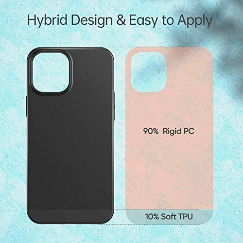 Meifigno Compatible with iPhone 12 Case and 12 Pro Case, [Ultra Thin] [Hybrid Designed] [Color Blocking], Slim Fit Matte Phone Case, Designed for Apple iPhone 12/12 Pro 6.1 inch (2020), Black