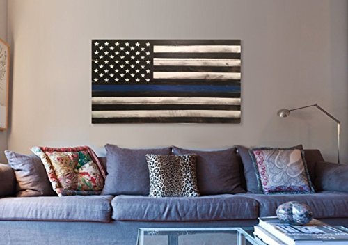 Thin Blue Line Wood Flag, Wood Thin Blue Line Flags 22x40'', veteran made thin blue line wood flag by Lee Keller Art