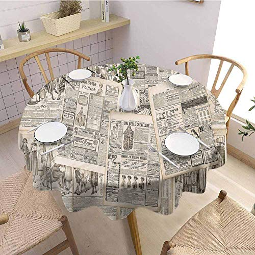 DILITECK Old Newspaper Protective Round Tablecloth Nostalgic Aged Pages with Antique Advertising Fashion Magazines Retro Print Fabric Tablecloth D60 Black Tan