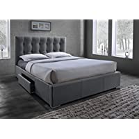 Baxton Studio Sarter Contemporary Grid-Tufted Fabric Upholstered Storage Bed with 2 Drawers, Queen, Grey