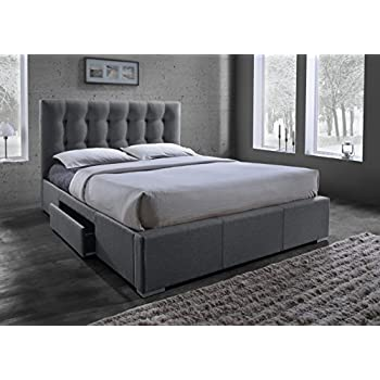 baxton studio sarter gridtufted fabric upholstered storage bed with 2 drawers queen