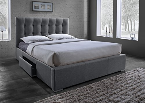 Baxton Studio Sarter Contemporary Grid-Tufted Fabric Upholstered Storage Bed with 2 Drawers, King, (Bed Frames With Drawers)