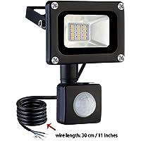 10W Foco LED con Sensor Movimiento, IP65 Impermeable 1000LM Super Brillante Foco LED Exterior 3000K Luz calida Foco Exterior para Jardín garaje Patio [Clase de eficiencia energética A+ ]