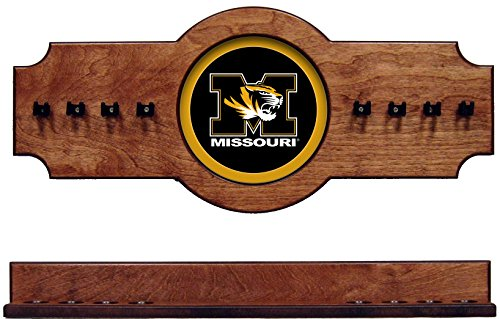 (NCAA Missouri Tigers MIZCRR100-P 2 pc Hanging Wall Pool Cue Stick Holder Rack - Pecan)
