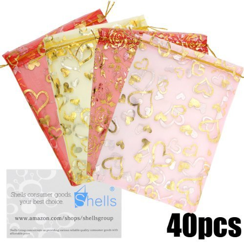 Shells 40PCS Multi-color Organza Gift Bags Candy Bags Gift Bags Flat Style Bags 2.75 X 3.54 Inches For Wedding, Party And Home Decoration