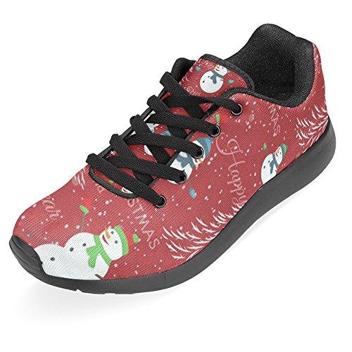 Interestprint Kvinna Jogging Kör Sneaker Lättvikts Gå Gång Casual Komfort Sports Löparskor Julgran Snögubbe Och Snöflingor På Rött Multi 1