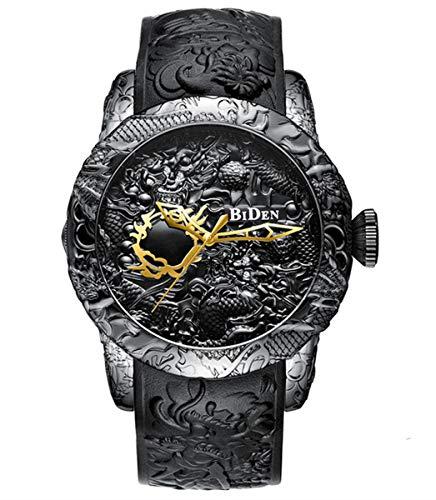 - Men's Fashion Big Dial 3D Sculpture Dragon Watches Men Quartz Watches Luxury Exquisite Creative Watch (Black)