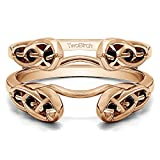 TwoBirch Infinity Celtic Ring Guard Enhancer with 0.24 carats of Black Cubic Zirconia in Rose Gold Plated Sterling Silver