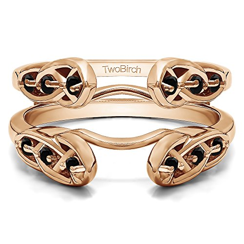 TwoBirch Infinity Celtic Ring Guard Enhancer with 0.24 carats of Black Cubic Zirconia in Rose Gold Plated Sterling Silver by TwoBirch