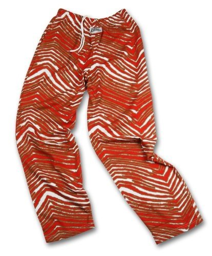 Zubaz San Francisco 49ERS Team Color Zebra Pants, Red Metallic Gold (Small)
