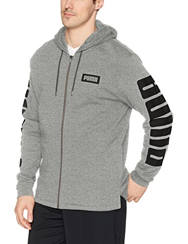 PUMA Men's Rebel Full Zip Hoodie French Terry, Medium Gray Heather, L