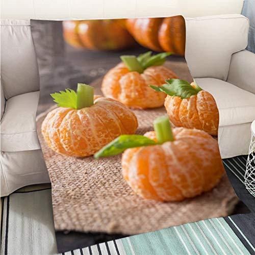 BEICICI Super Soft Flannel Thicken Blanket Healthy Halloween Treats Tangerine Pumpkin Kids Fun Art Blanket as Bedspread Gold White Bed or Couch]()