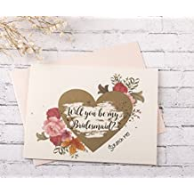 Bridesmaid Scratch Off Cards. Bridesmaid Cards. Will You Be My Bridesmaid Gold Heart Scratch Off Cards 8CT with 8 Blush Envelopes