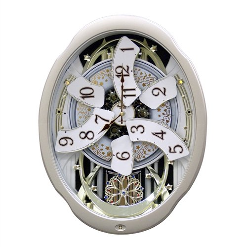 Svitlife Moving Face Pendulum Wall Clock - Plays Melodies Every Hour Pendulum Face Wall Clock Regulator Seth Thomas Large Quartz Movement Wood (Regulator Glass Clock)