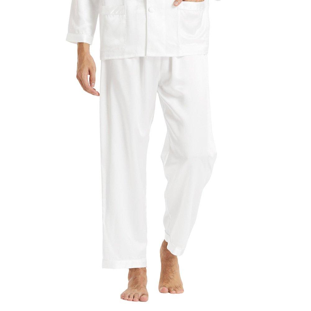 LilySilk (リリーシルク) メンズ パジャマ上下セット 高級シルク100% ルームウェア 静電気防止 光沢があり心地よい肌さわり 透け防止 敏感肌乾燥肌にお勧め 【耐久性のある22匁/フルレングス/長袖】 B00LZDOKMK L|ホワイト-パンツ ホワイト-パンツ L