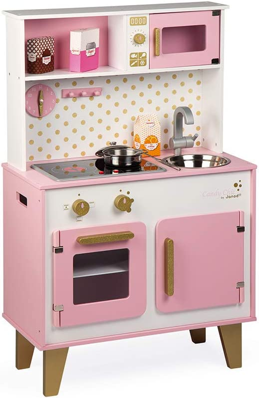 "Janod Candy Chic Glitter Big Cooker Pink 34"" Wooden Kitchen Playset Toy with 6 Accessories & Sound Light Effects for Imagination Play - Ages 3+"